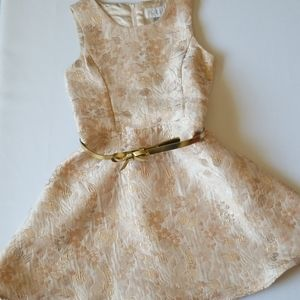 Place Girls Ivory and Gold Lame Dress, size 8, EUC